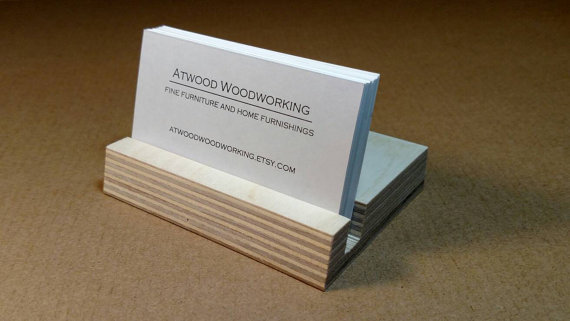 Business card holder made from reclaimed ash wood